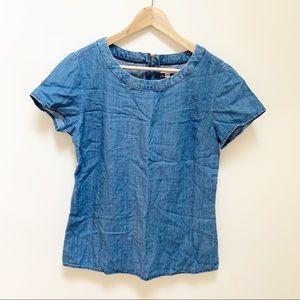 BANANA REPUBLIC chambray blouse top sz 8